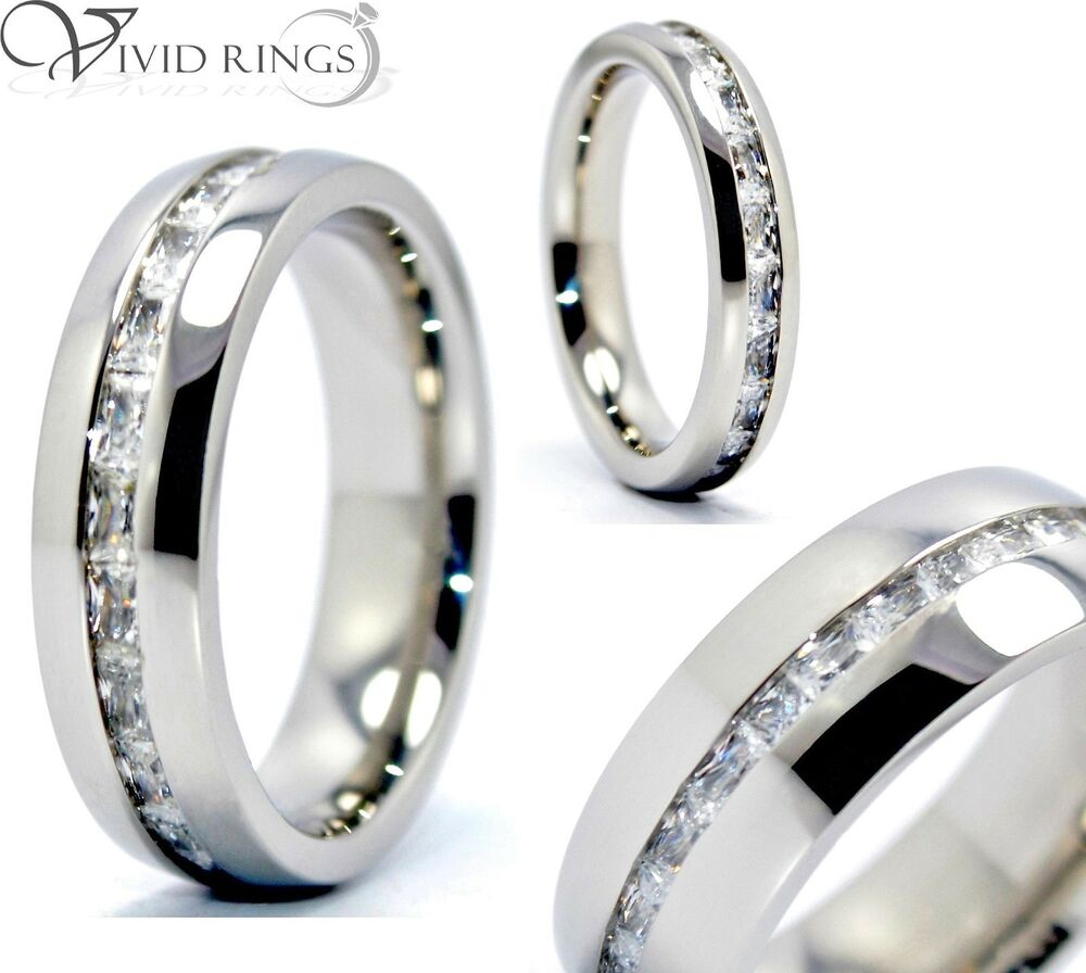 Mens Amp Womens Stainless Steel Princess Cut Eternity Ring