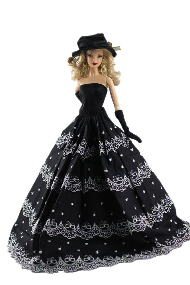 Doll S Dress Black Gown Princess Wedding Clothes For