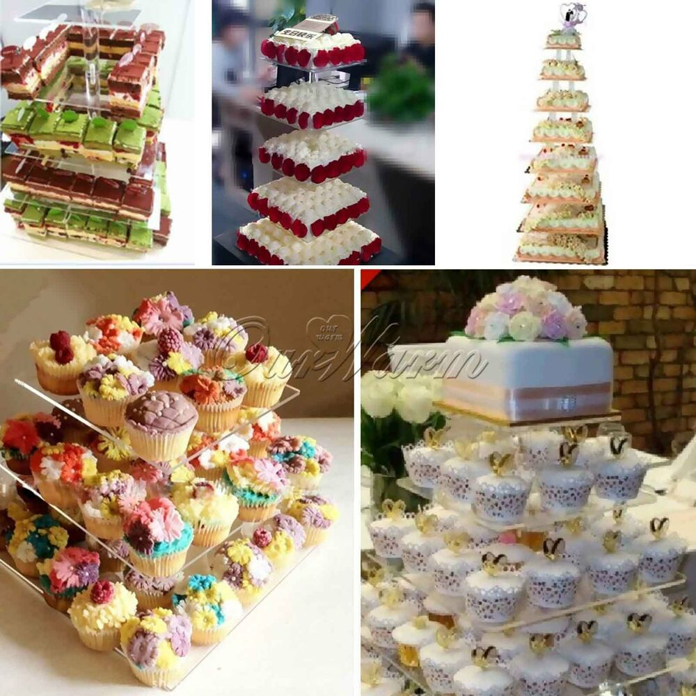 3 7 Tier Square Shape Acrylic Cupcake Stand For Wedding