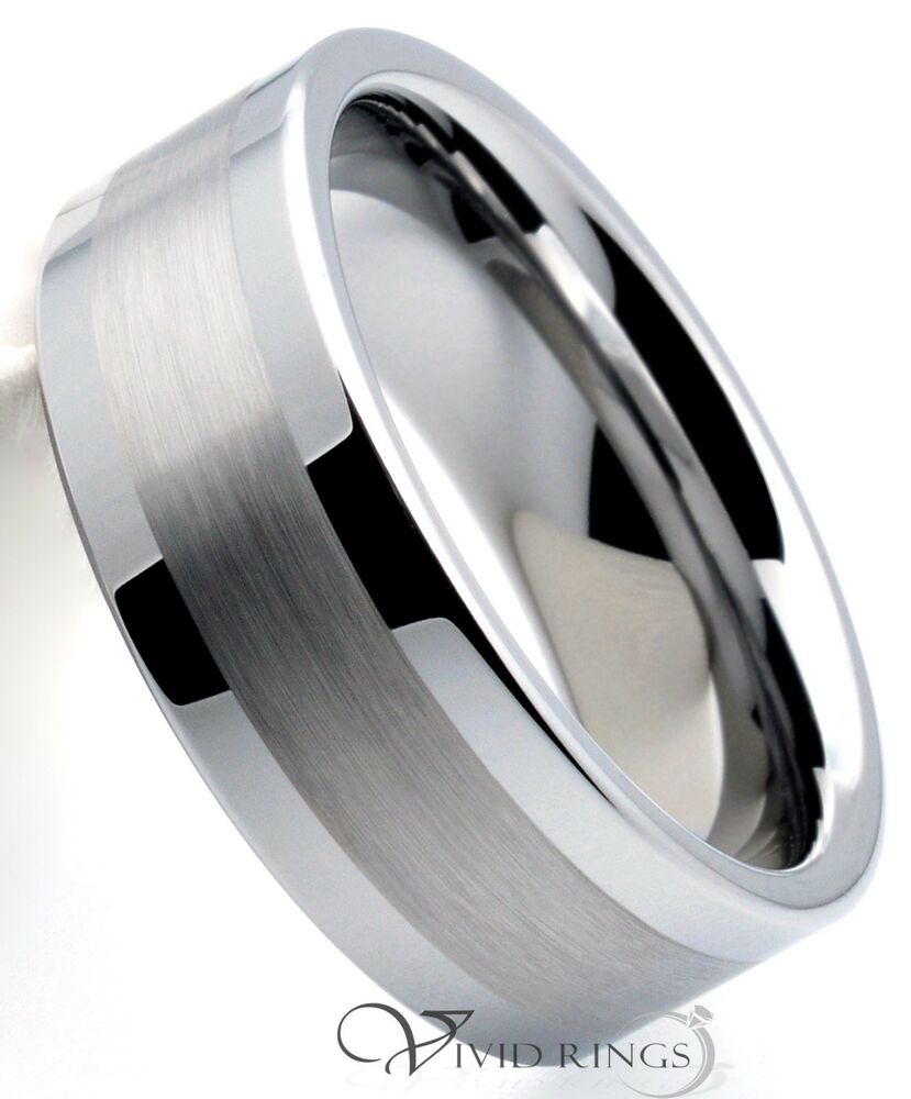 Men S Mm Tungsten Ring Brushed Silver