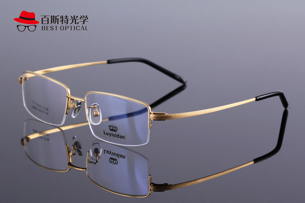 Glasses Frames Large Sizes : Large Size Mens Half Rimless Pure Titanium Glasses Frame ...