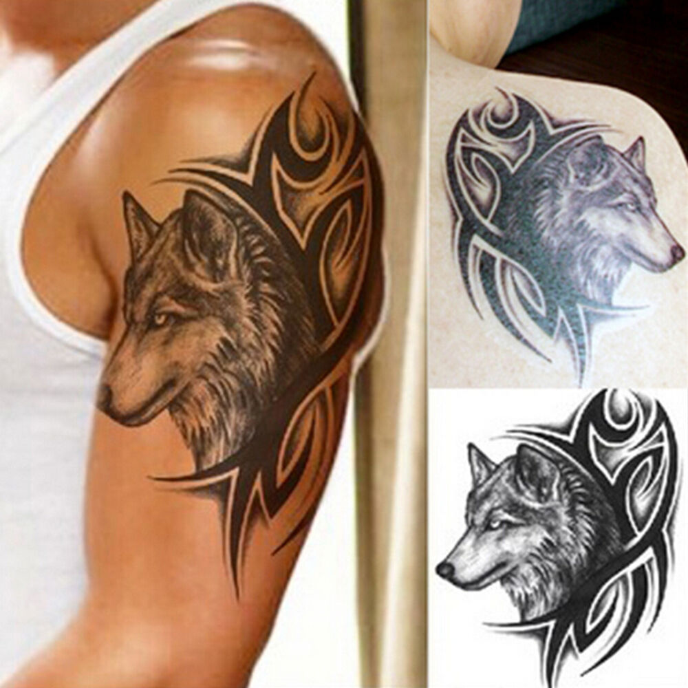 Large wolf head waterproof temporary removable tattoo body for Temporary arm tattoos