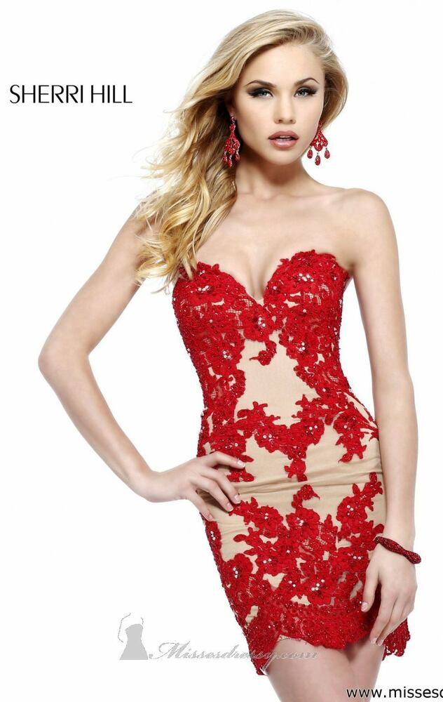 21187 sherri hill red crystal lace party cocktail prom for Cocktail usa