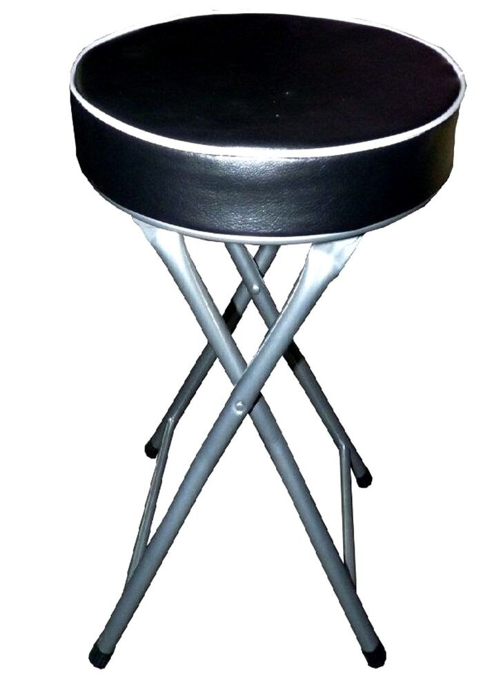 Round Padded Chair Black Lightweight Home Kitchen Folding