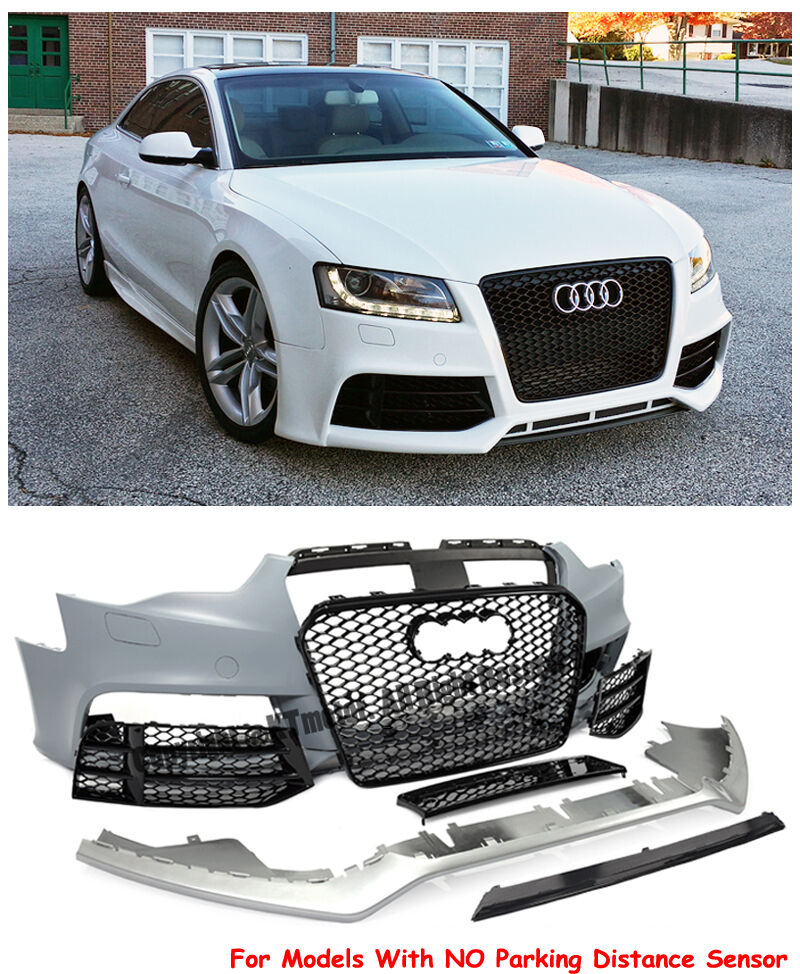 Rs5 Style Front Bumper Cover With Mesh Black Grille For 13