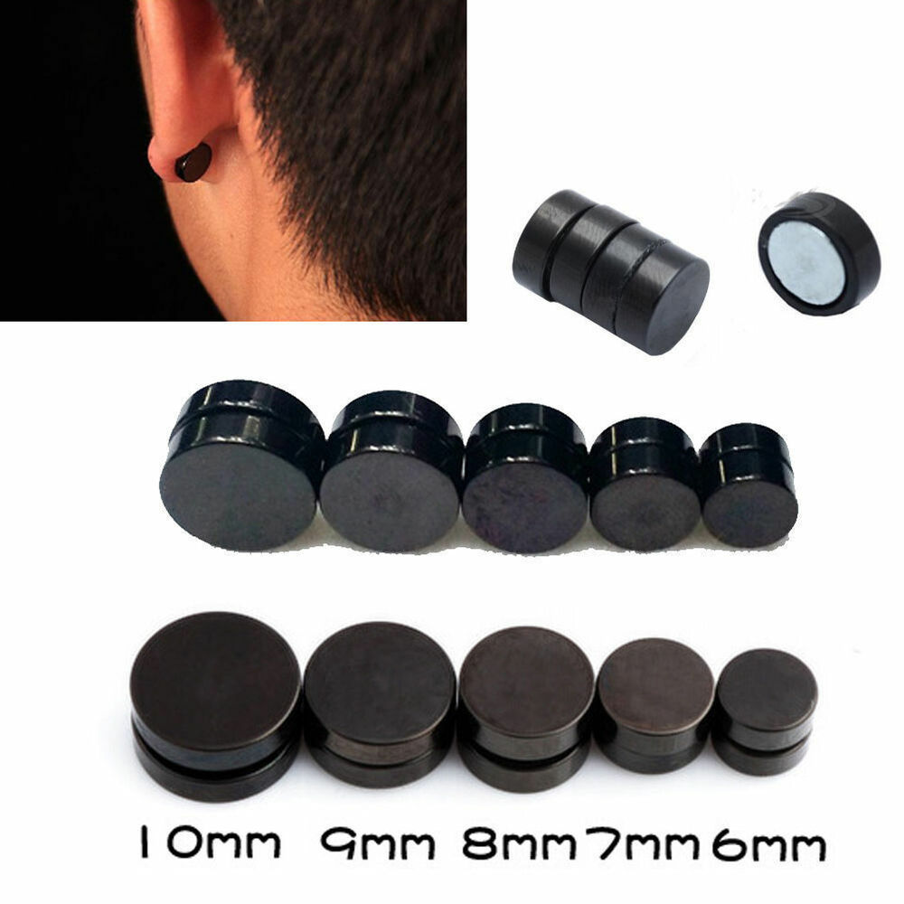 2Pcs Round Black Magnetic Clip On Ear Stud Earrings No ...