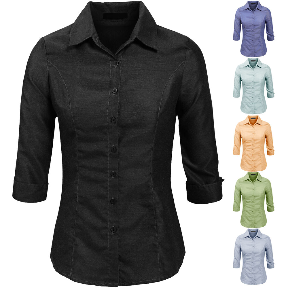 Ne people women 39 s basic stretch folded cuff 3 4 sleeve for Womens stretch button down shirt