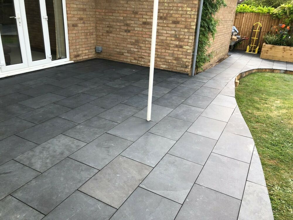 natural nox black slate paving garden patio slabs 80m2 600x400mm 15 to