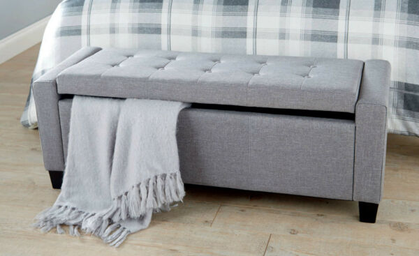 VERONA GREY FABRIC LARGE OTTOMAN STORAGE & SEATING BLANKET BOX VFUK EXCL.