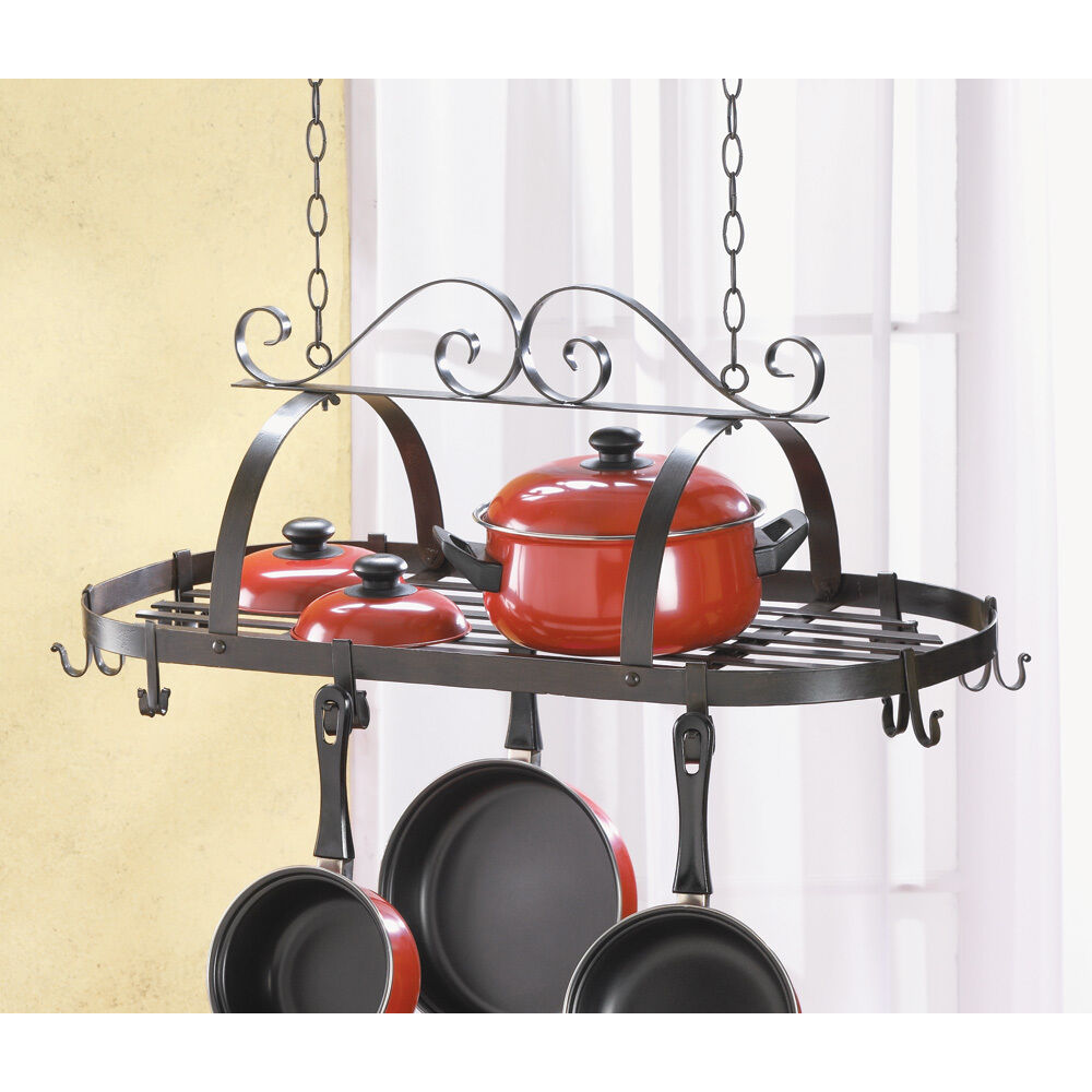 Wrought iron hanging pots pan kitchen rack holder for Pot racks for kitchen
