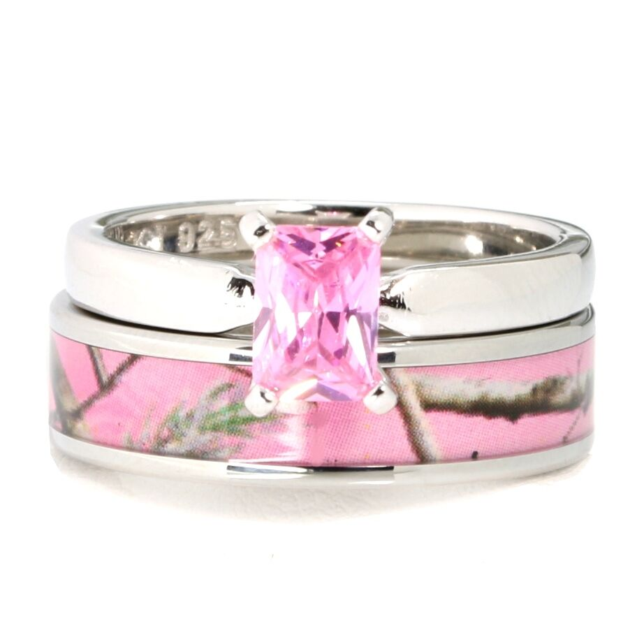 Pink camo stainless steel band 925 sterling silver for Pink camo wedding ring