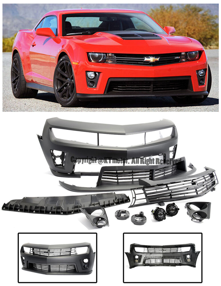 For 10 15 Camaro Zl1 Style Front Bumper Cover Upper Lower Grille W Fog Lights Ebay