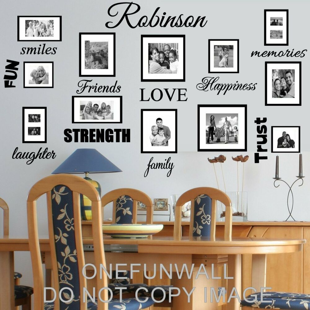Personalized family name and 18 words vinyl wall decal for Home decor names