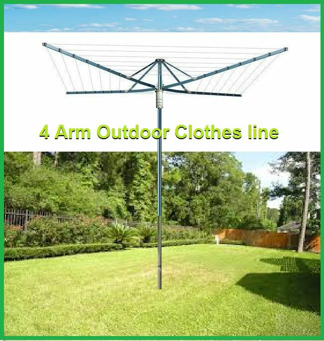 brand new 4 arm outdoor foldable clothes line 45 rotary. Black Bedroom Furniture Sets. Home Design Ideas