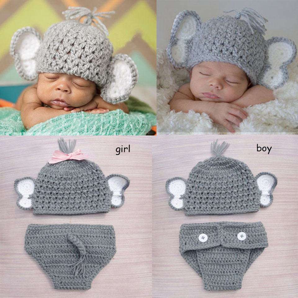 Crochet Baby Elephant Costume Knitted Baby Photo ...