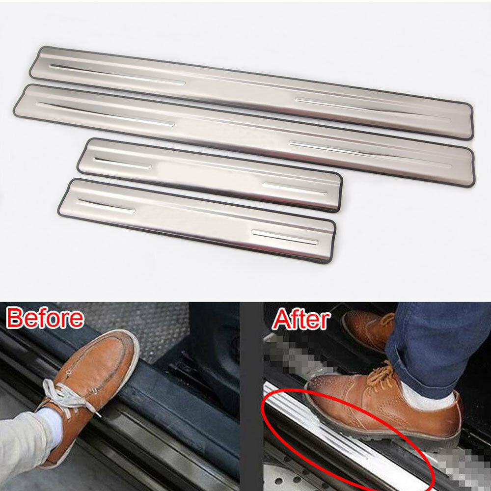 4x new stainless car door sill guard scuff plate cover trim for tiguan 2010 2015 ebay. Black Bedroom Furniture Sets. Home Design Ideas