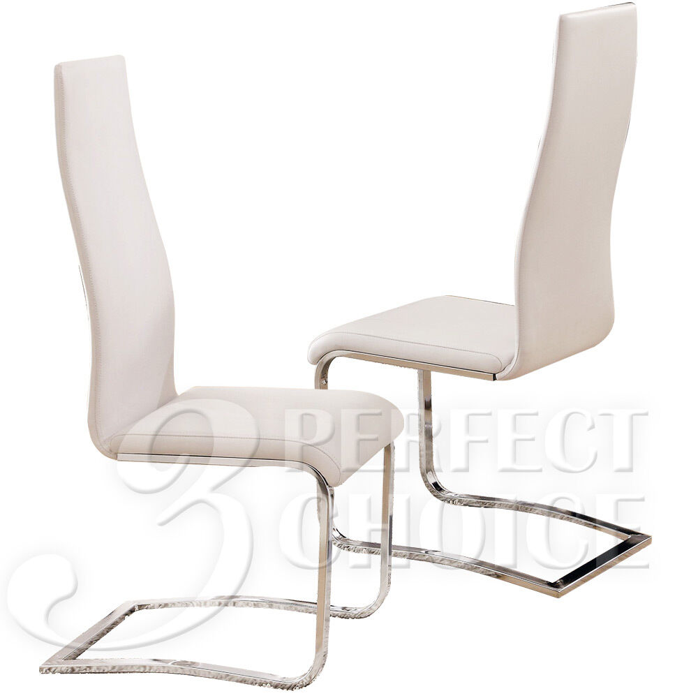 Brewer Modern Set Of 4 Dining Side Chairs White Faux