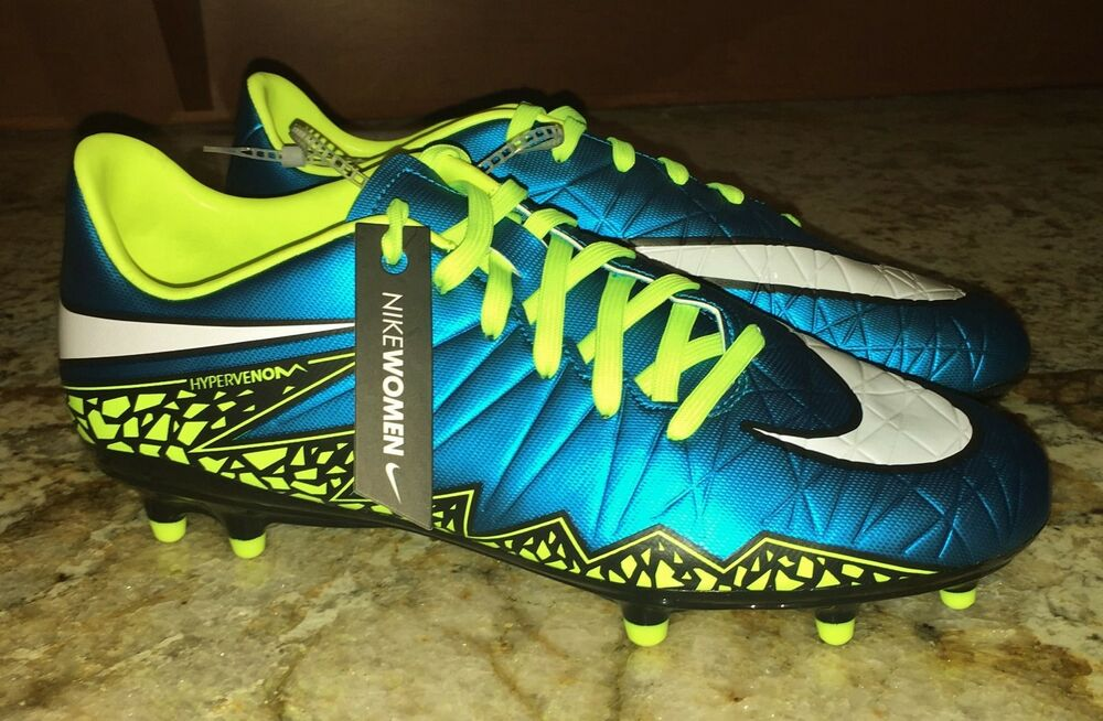 0c917a9104c Details about NIKE Hypervenom Phelon FG Blue Lagoon Volt Soccer Cleats NEW  Womens 6.5 7 8 9 10