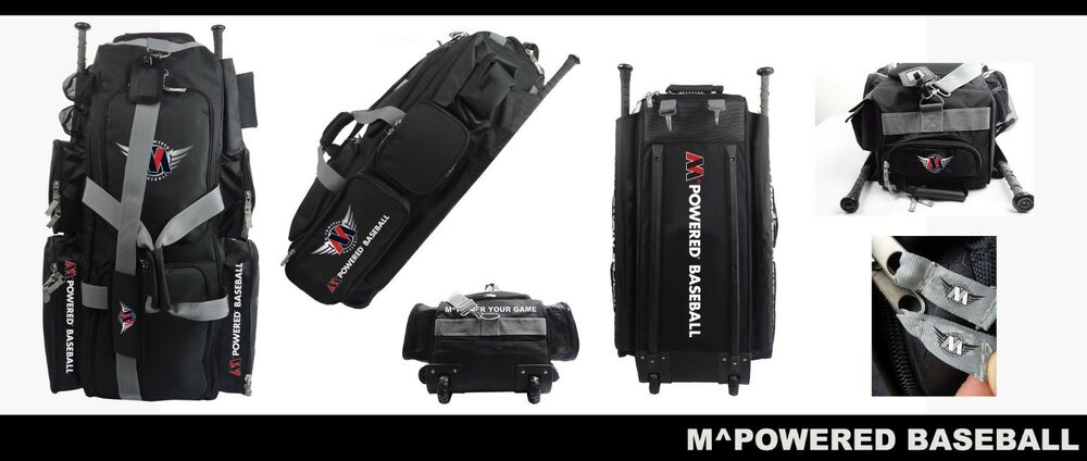 Mpowered Baseball Rolling Gear Bag 6 Bat Storage And