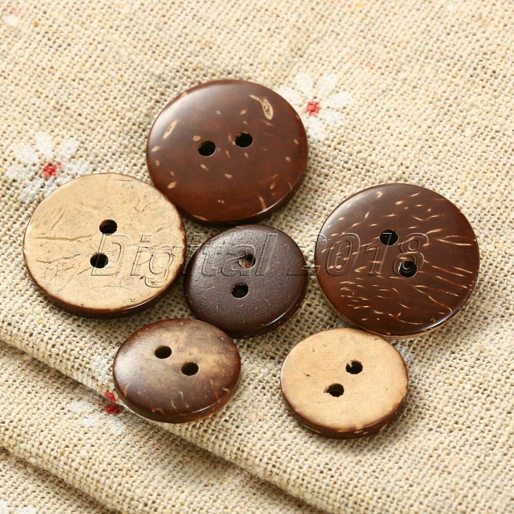 100x brown coconut shell 2 holes sewing buttons. Black Bedroom Furniture Sets. Home Design Ideas
