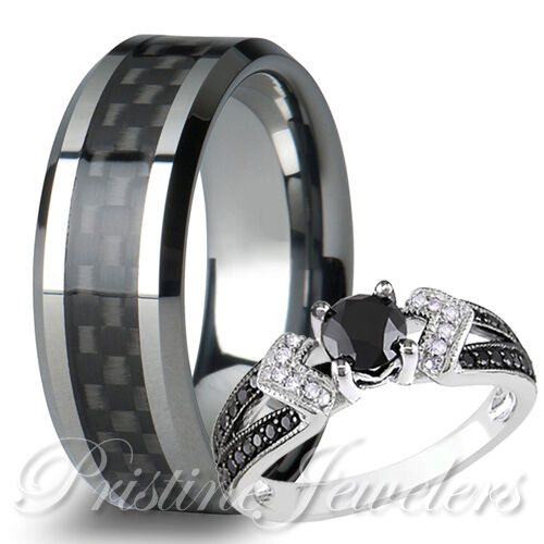 2pc His Tungsten Black Carbon Men Ring Her Pave 925