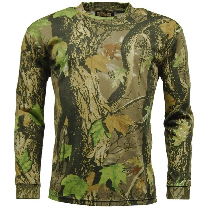 Mens long sleeve t shirt country camo base layer top for Camo fishing shirt