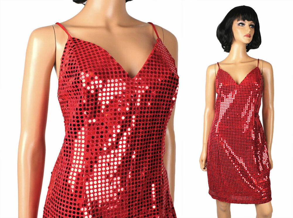 a399dd44 Details about Red Sequin Dress M Vintage Sleeveless Fredericks Jessica  Rabbit Gown Costume