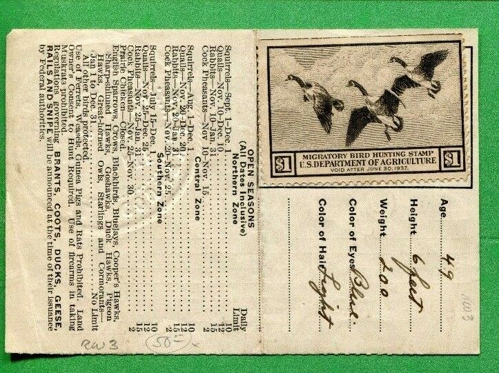 Illinois 1936 resident hunting license w rw3 unsigned for Fishing license il