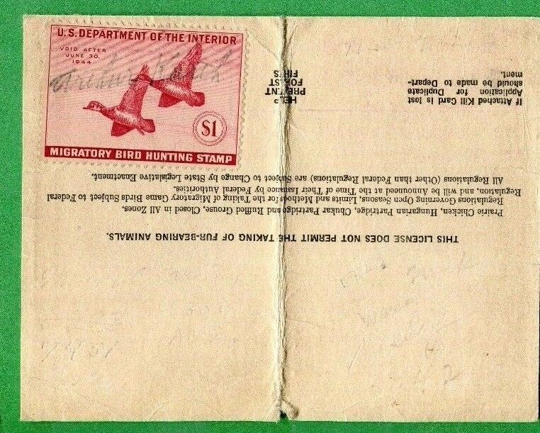 Illinois 1943 resident hunting license w rw10 duck stamp for Fishing license indiana