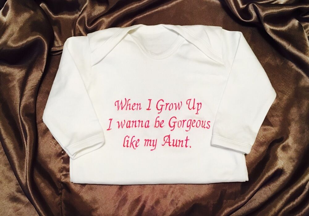 Details About Personalized Aunt Mummy Daddy GrandmaBaby OutfitGrowBodysuit Birthday Gift