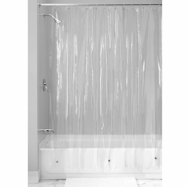 NEW SOLID WATER REPELLANT BATHROOM SHOWER CURTAIN VINYL PLASTIC LINER CLEAR
