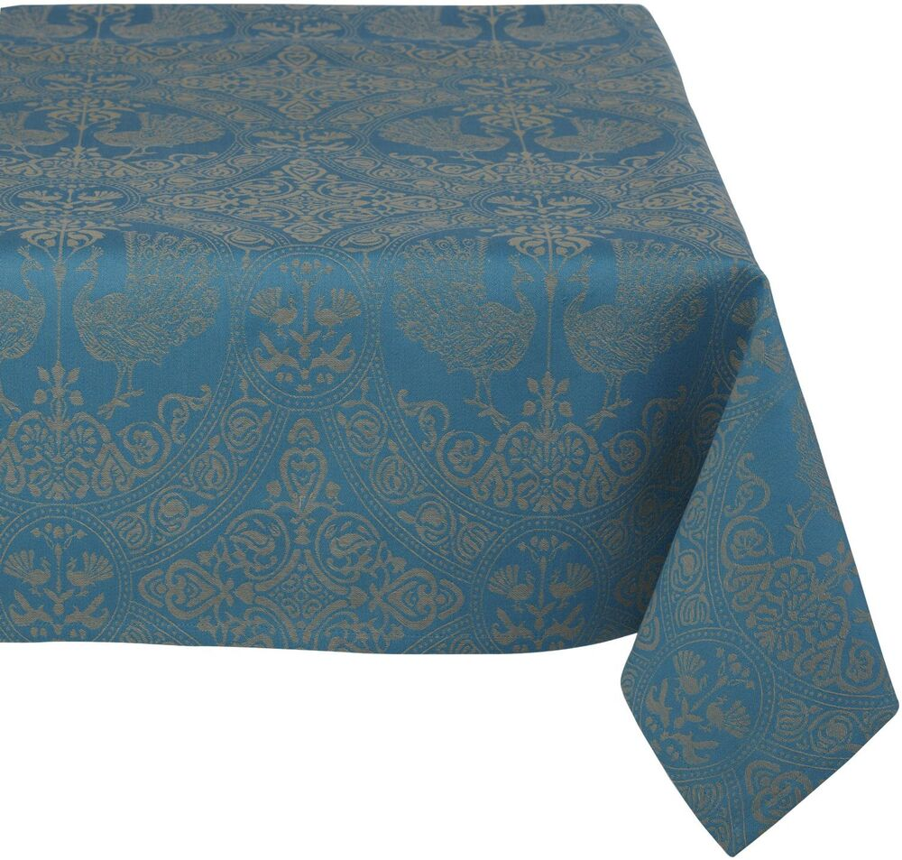 Mahogany Peacock 60 Inch By 120 Inch Teal Tablecloth