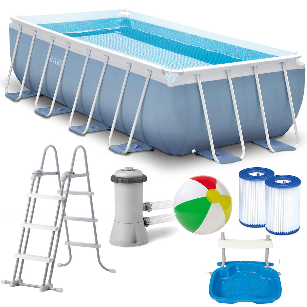 Intex prism frame swimming pool 400x200x100 cm rechteck for Rechteck pool stahlwand