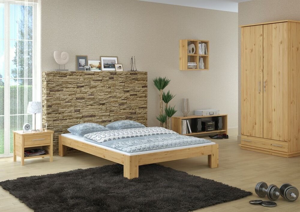 franz sisches bett doppelbett 140x200 futon kiefer massiv mit rollrost 4250639540866 ebay. Black Bedroom Furniture Sets. Home Design Ideas