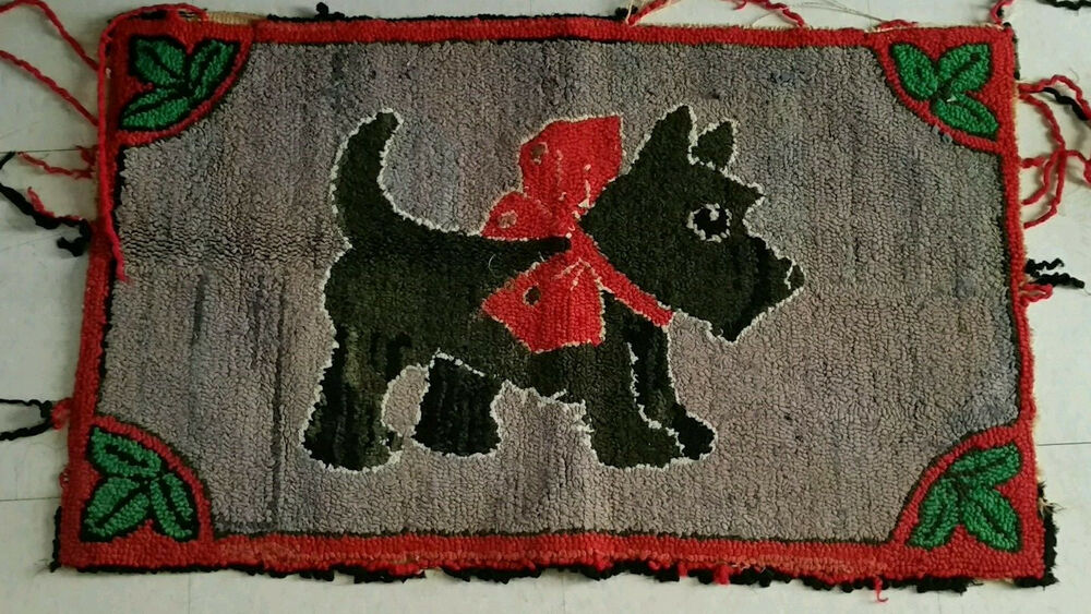 Early American Antique Scotty Dog Rug Folk Art Wool Hooked
