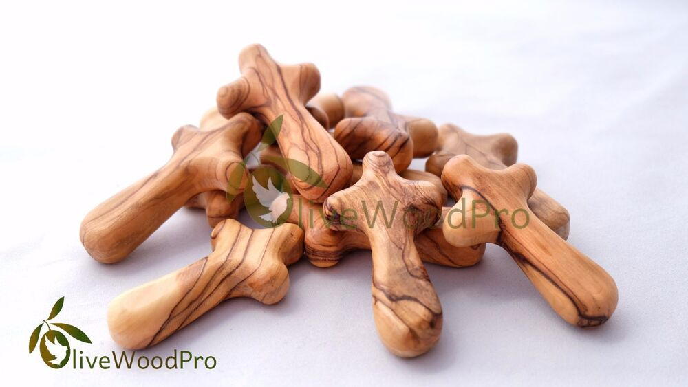 50 Comfort Crosses Small Genuine Olive Wood Holy Land
