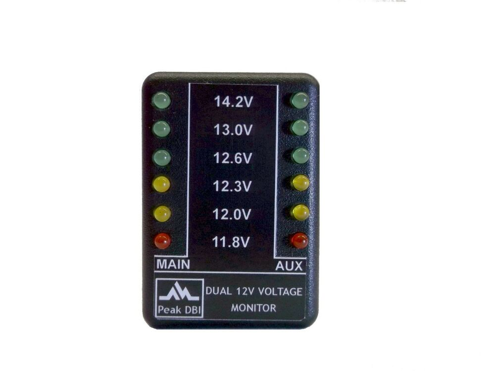 Battery Voltage Monitor : V led double battery voltage level monitor meter