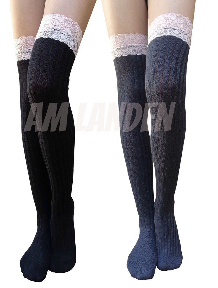 ed9f1c410ef Details about AM Landen Lace Top Lolita Socks Gothic Over-Knee High Cotton  Socks(Black+Gray)