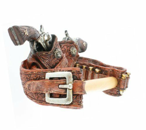 Double Revolver Toilet Paper Holder Rack Texas Cowboy