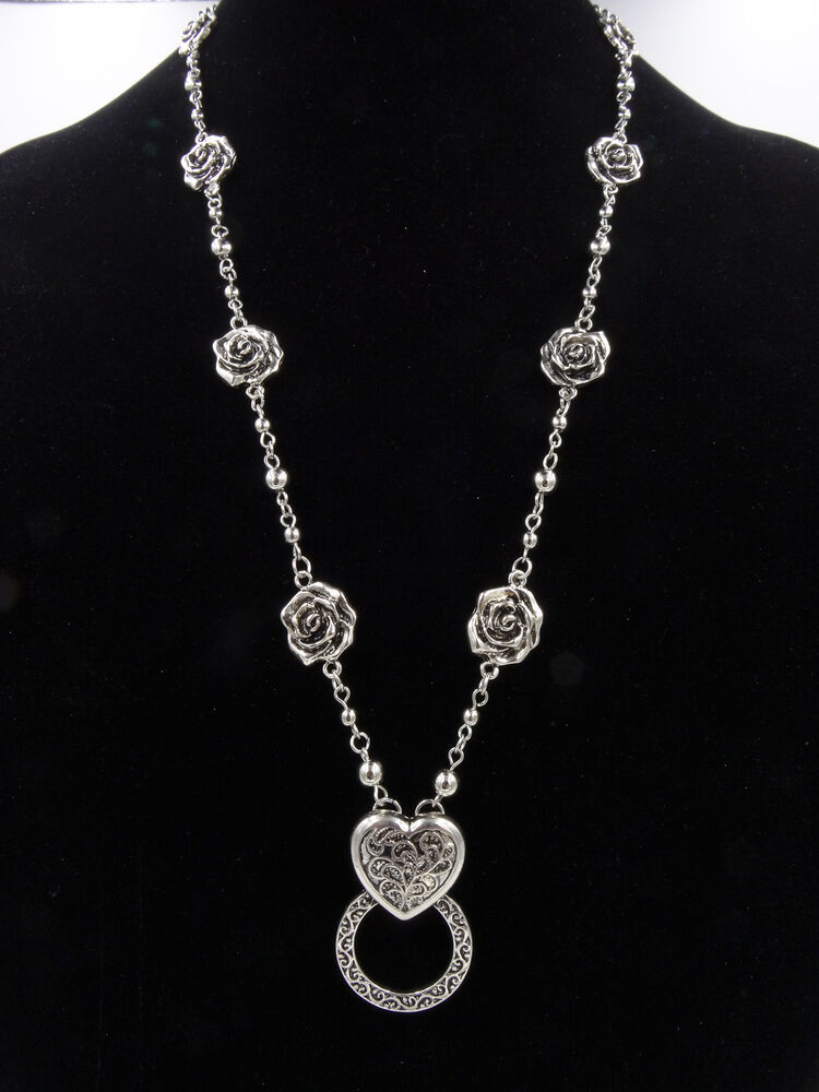 New Antiqued Silver Eyeglass Holder Necklace with Roses ...