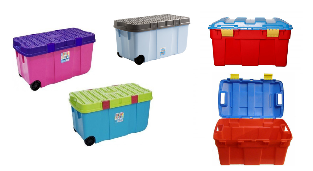 100l plastic storage box tough cart container with 2 wheels clip on lided boxes ebay. Black Bedroom Furniture Sets. Home Design Ideas
