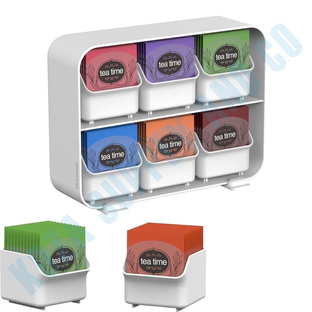 tea bag storage box display organizer condiment chest holder compartment white ebay. Black Bedroom Furniture Sets. Home Design Ideas