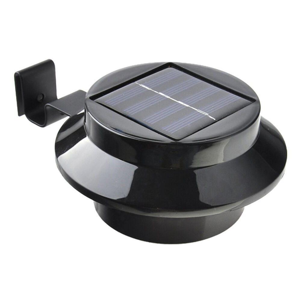 3 Led Solar Powered Outdoor Lights Fence Yard Wall Gutter