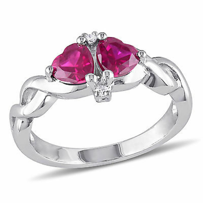 sterling silver created ruby and accent ring