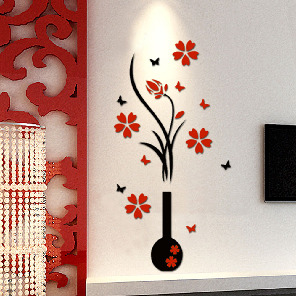 3d flower beautiful diy wall decals mural stickers art home room tv vinyl decor ebay - Wall paintings for home decoration ...