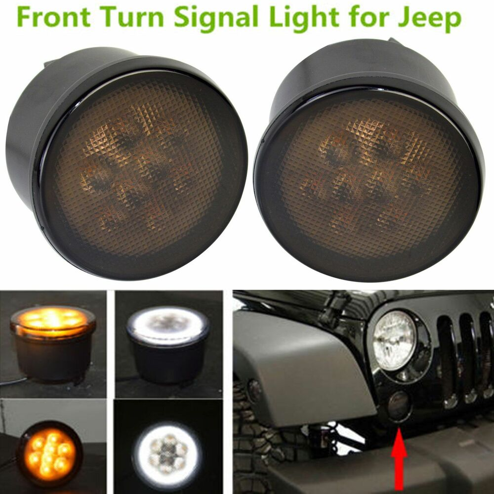 2x Front Led Turn Signal Light Assembly With White Halo