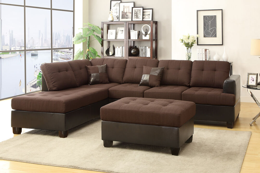 Sofa Reversible Chaise Ottoman 3Pc Sectional Set Chocolate Living Room Furnit