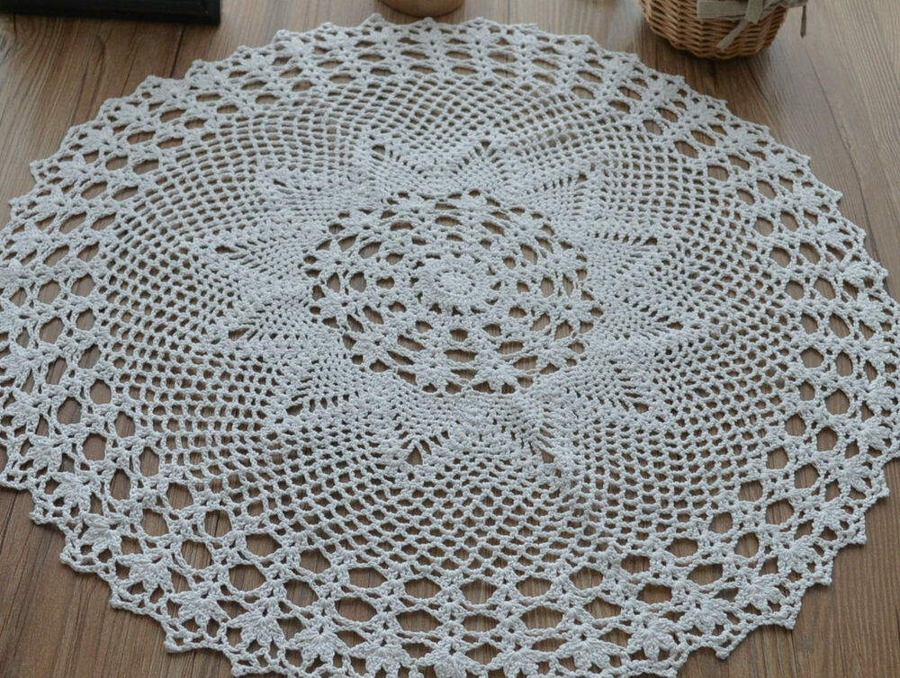 Quot round hand crochet white doily floral table cloth