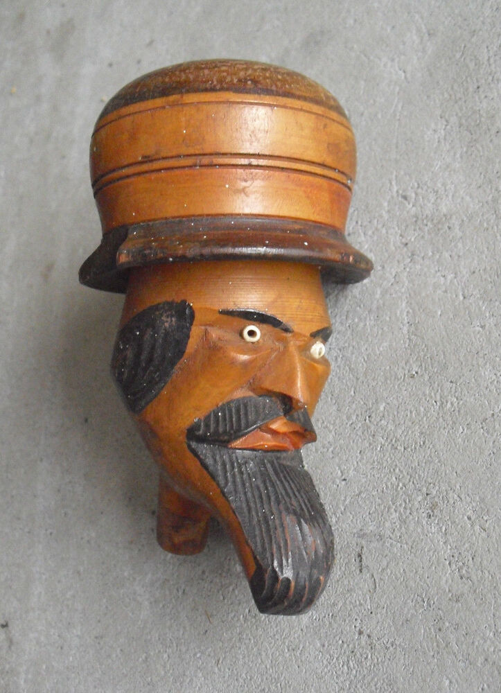 big vintage carved wood folk art man head figural pipe