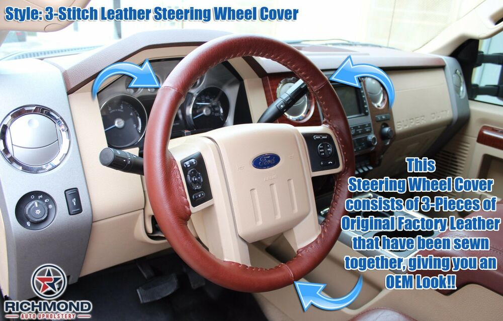 2008 2009 ford f250 f350 king ranch leather steering wheel cover 3 stitch style ebay. Black Bedroom Furniture Sets. Home Design Ideas